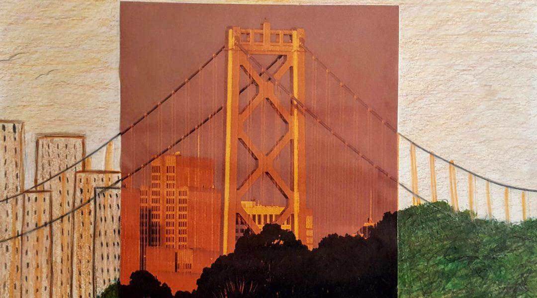 collage image of suspension bridge