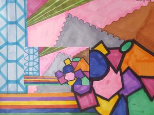 abstract painting of geometric shapes