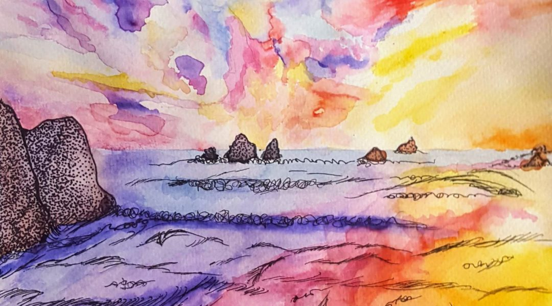 watercolor painting of sunset over rocky bay