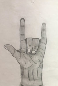 drawing of hand making sign