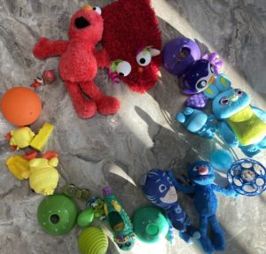 color wheel made from stuffed animals