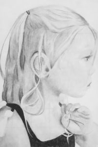 pencil drawing of young girls