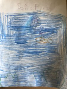 colored pencil drawing of underwater scene