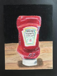 drawing of ketchup bottle