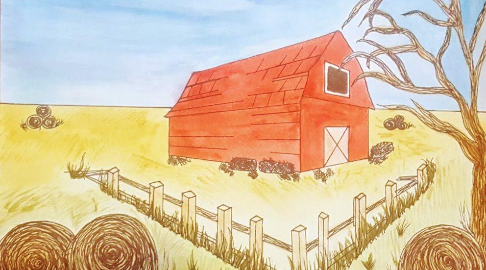 red barn in barnyard