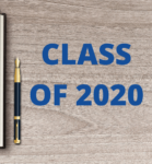 book with silloutte of graduate and Catskill CSD logo and pen next to it with the words Class of 2020