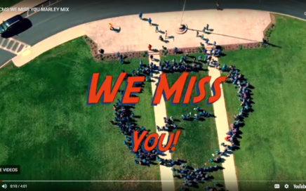 overhead view of schoolyard with students standing in a circle and the words miss you.