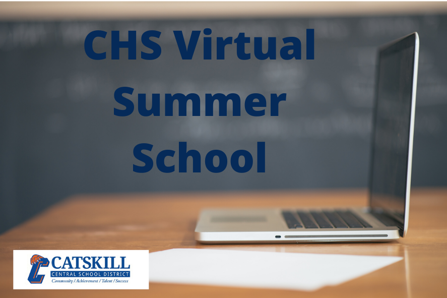 CHS Virtual Summer School with Catskill logo and image of laptop