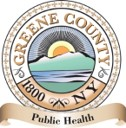 Green County, NY Public Health Seal showing sun setting behind mountain