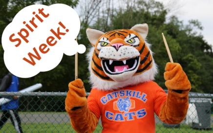 Cat Mascot thinking Spirit Week!