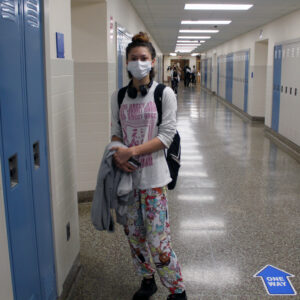girl wearing pjs