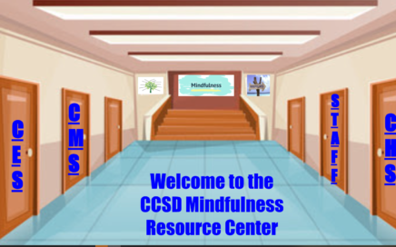 virtual hallway with doors that says welcome to the CCSD Mindfulness Resource Center
